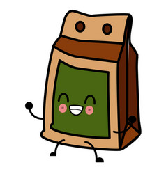 paper food bag kawaii cartoon vector image