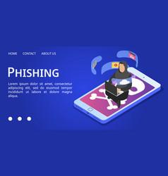 Phishing banner isometric style vector