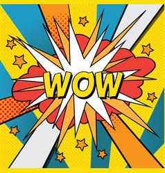 pop art comic wow vector image