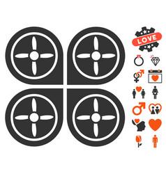 Quadrocopter icon with dating bonus vector