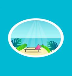 Recliner on tropical beach near sea under sunlight vector