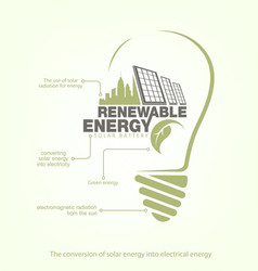 Renewable energy of solar energy in bulb concept vector
