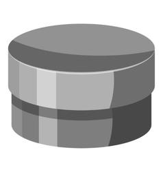 Round jar for cream icon gray monochrome style vector image