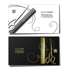 Scissors comb and curl hair business card vector
