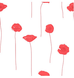 seamless background with red poppies vector image