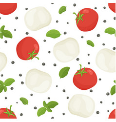 Seamless food pattern caprese salad ingredients vector