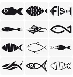 set creative black fish icons on white vector image