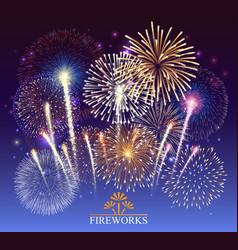 set fireworks festive banner vector image