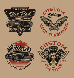 set logos in vintage style for transportation vector image