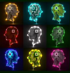 Set neon human head cpu circuit board vector