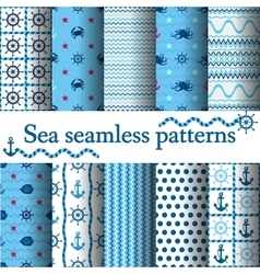 Set of sea seamless vector