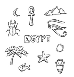 Sketch collection of Egyptian symbols vector