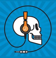 skull wearing headphones music badge design vector image