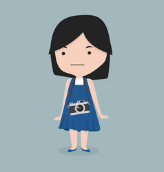 small girl with a vintage camera vector image