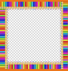 square frame made of multicolored pencils on vector image