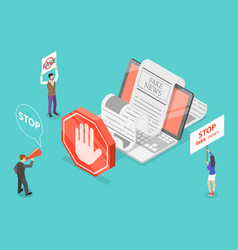 stop fake news 3d isometric conceptual vector image