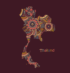 textured map thailand hand drawn ethno vector image