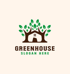 tree with roof house logo template vector image
