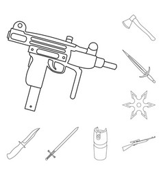 types of weapons outline icons in set collection vector image