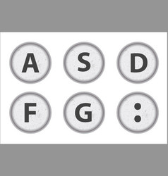 Typewriter keys asdfg vector