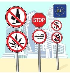 Various street signs ban vector