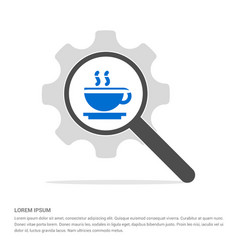 Warm drink icon search glass with gear symbol vector