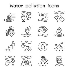 water pollution ecology problem icon set in thin vector image