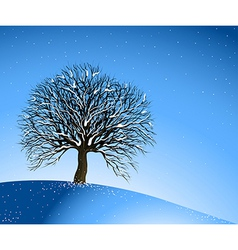 Winter Landscape Lonely Tree vector image