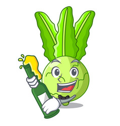 With beer fresh cabbage kohlrabi on the mascot vector