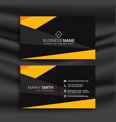 Yellow and black dark modern business card vector