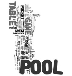 Your sport is pool text word cloud concept vector