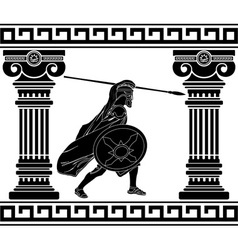 Black warrior with with columns second variant vector