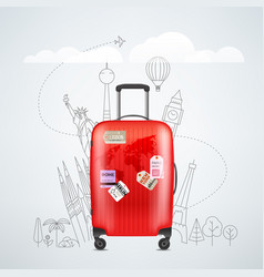 color red plastic travel bag with different vector image
