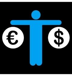 Compare Dollar and Euro Icon vector image