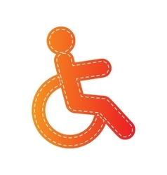 Disabled sign Orange applique vector image
