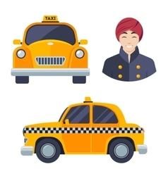 Indian hindu taxi car driver icon set vector image vector image