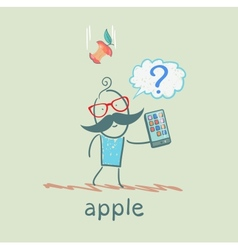 man holding a mobile phone and an apple falls on vector image vector image