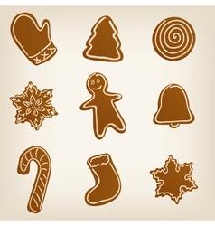 Set of Christmas cookies vector image vector image