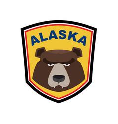 alaska grizzly mascot bear emblem sign wild vector image