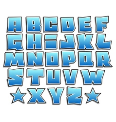 Blue gradient graffiti fonts alphabet with shadow vector