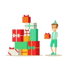 Boy Next To Giant Pile Of Presents Kids Birthday vector image vector image