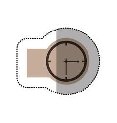contour emblem sticker clock icon vector image vector image
