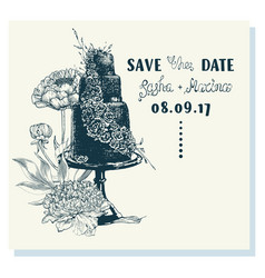 ink sketch of wedding cake with floral decoration vector image vector image