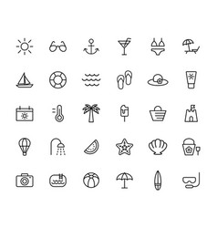 summer travel holiday and beach icons set on vector image