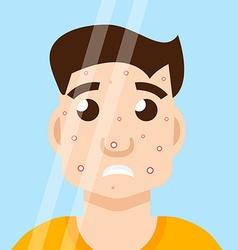 acne man in mirror vector image