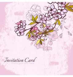 Blossom cherry or sakura invitation postcard vector image vector image