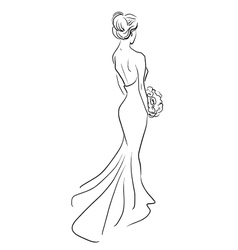 bride back with bouquet of flowers vector image vector image