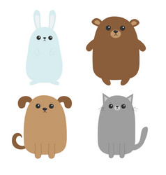 cartoon dog cat bear grizzly rabbit hare icon vector image