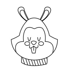 cartoon face squirrel christmas scarf image vector image vector image
