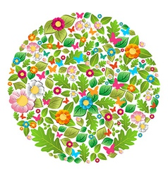 Floral spring and summer circle vector image vector image